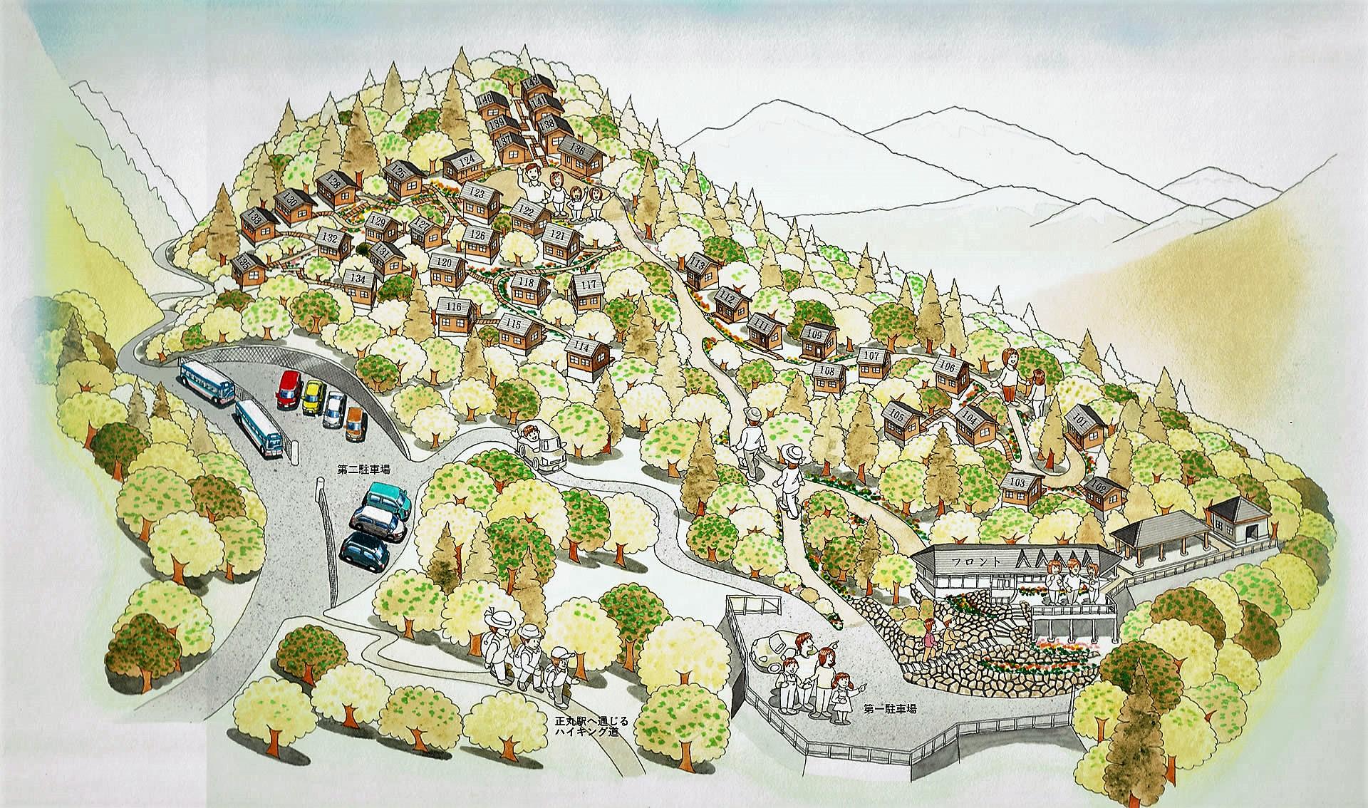 正丸峠ガーデンハウスの全体俯瞰図